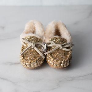 J. Crew Girls' glitter-covered moccasin slippers